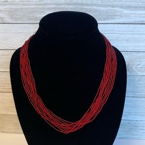 Classic Red Seed Bead Necklace